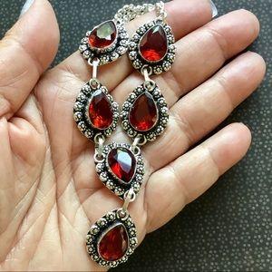 Garnet Gemstone Drop Necklace Victorian style